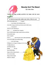 English Worksheet: Song: Beauty and the Beast