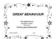 English Worksheets: behaviour degree