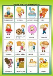 English Worksheet: FOOD FLASHCARDS FOR BEGINNERS I + B&W