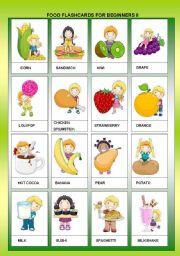 English Worksheet: FOOD FLASHCARDS FOR BEGINNERS II + B&W