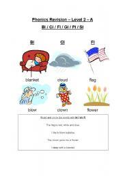 English Worksheets: Blends: bl, cl, fl, gl, pl, sl