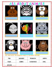 English Worksheets: All About Animals