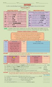 English Worksheet: suffix and its kind