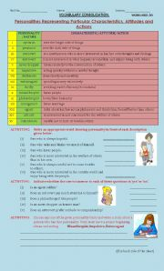 English Worksheets: personalities representing particular  characteristics,attitudes and actions