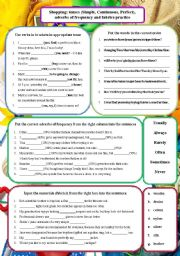 English Worksheet: Shopping: tenses (Simple, Continuous, Perfect), adverbs of frequency and fabrics practice