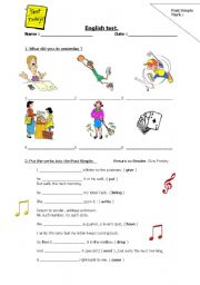 English worksheet: Past simple test
