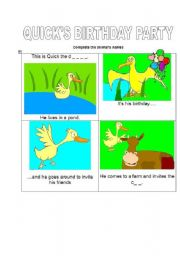English worksheet: QUICK´S BIRTHDAY