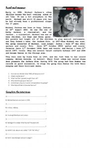 English Worksheet: Michael Jackson
