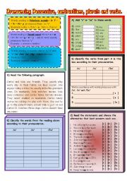 English Worksheets: Pronouncing possessives, contractions, plurals and verbs