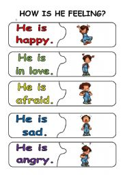 English Worksheet: emotions puzzle pieces