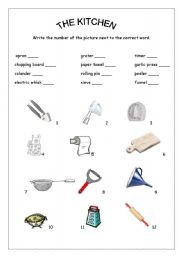 Kitchen Tools Worksheet english teaching worksheets: in the kitchen
