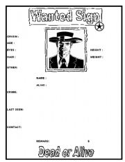 English Worksheets: Wanted Sign (template)