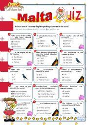 English Worksheet: Malta Quiz