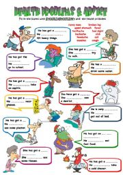 English Worksheets: Health Problems & Advice