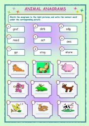 English Worksheets: ANIMAL  ANAGRAMS