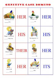 English Worksheet: - POSSESSIVE  ADJECTIVES /  GENITIVE CASE DOMINO - 4 PAGES - EDITABLE