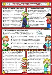 English Worksheet: PRESENT PERFECT - Negative and Question (B&W+KEY included)