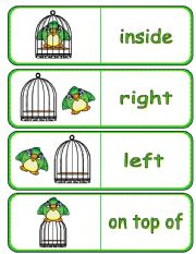 English Worksheets: Where is the Bird Preposition Dominoes  and Memory Cards 1 of 2 (With Poster,  Poem and Drawing Activity)