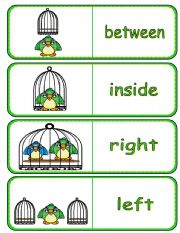 English Worksheets: Where is the Bird Preposition Dominoes and Memory Cards 2 of 2 (With Poster,  Poem and Drawing Activity)