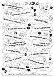 English Worksheet: If  jokes (WS = cards) 1/2