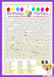 English Worksheet: BIRTHDAY PARTIES.
