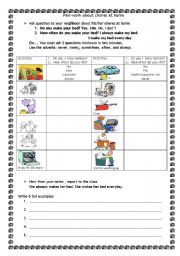 English Worksheet: pairwork about chores