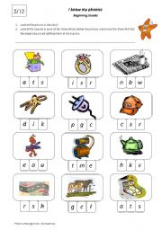 English Worksheet: I Know My Phonics Beginning Sounds 2/12