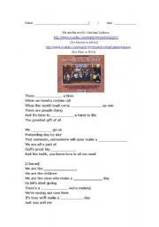 English Worksheet: We are the world by Michael Jackson worksheet