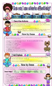 English Worksheets: Using Adverbs Effectively to improve Writing