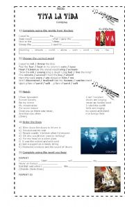 English Worksheet: SONG: VIVA LA VIDA (By Coldplay)