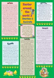 English Worksheet: Easter traditions from around the world 2 - Americas & Australia - 2 p.+key - RE-UPLOADED