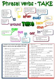 English Worksheet: Phrasal verbs - TAKE (B&W + KEY included) REUPLOADED