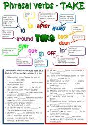 English Worksheets: Phrasal verbs - TAKE (B&W + KEY included) REUPLOADED