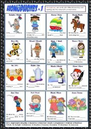 English Worksheet: HOMOPHONES 1 + KEY