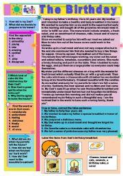 English Worksheet: The Birthday