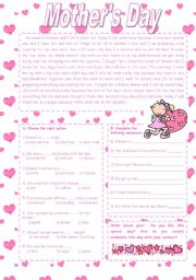 English Worksheet: Mother´s Day text