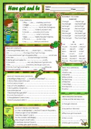 English Worksheet: Have got and be - UPDATED AND WITH KEY INCLUDED