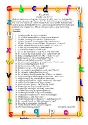 English Worksheet: Ball Game - To practice making questions or Tenses