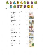 English Worksheets: Classroom Actions match