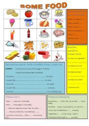 English Worksheet: Food. There is-there are. Some-any.
