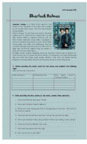 English Worksheet: Sherlock Holmes - DVD session