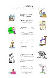 English worksheet: Occupations - What does he/she do?