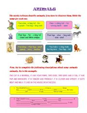 English Worksheets: Nouns & Adjectives for describing animals