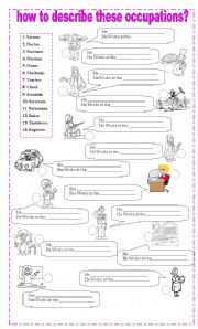 English Worksheets: how to describe occupations
