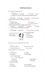 English Worksheets: ��aily expressions 2-1