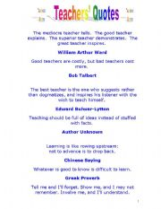 English Worksheets: Teacher�s Quotes