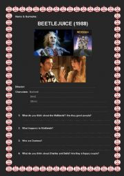 English Worksheets: Beetlejuice Movie Study Questions & Answer Key