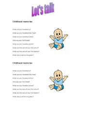 English Worksheet: Was/ were questions- Childhood memories