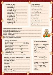 English Worksheets: exercises for beginners