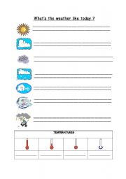 English Worksheet: Weather and temperature worksheet